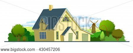 Rural House In A Cheerful Cartoon Flat Style. Isolated On White Background. Half Turn. Gable Brown R