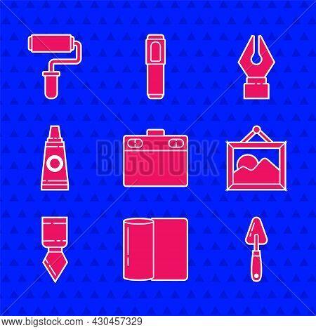 Set Graphic Tablet, Paper Towel Roll, Palette Knife, Picture Landscape, Tube With Paint Palette, Fou