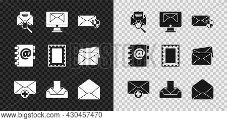 Set Envelope With Magnifying Glass, Monitor And Envelope, Shield, Received Message Concept, Download