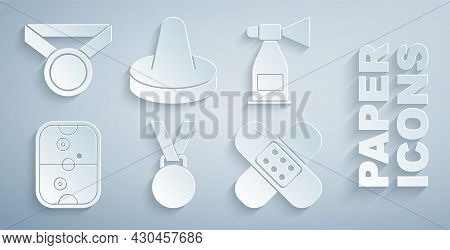 Set Medal, Air Horn, Hockey Table, Crossed Bandage Plaster, Mallet For Playing Air And Icon. Vector