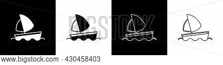 Set Yacht Sailboat Or Sailing Ship Icon Isolated On Black And White Background. Sail Boat Marine Cru
