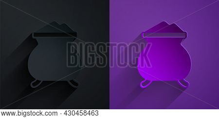 Paper Cut Molten Gold Being Poured Icon Isolated On Black On Purple Background. Molten Metal Poured
