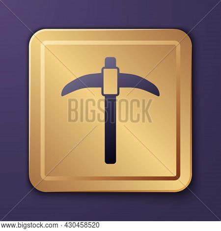Purple Pickaxe Icon Isolated On Purple Background. Gold Square Button. Vector