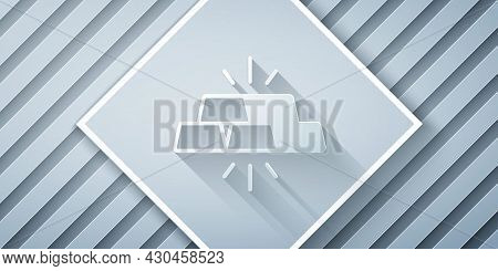 Paper Cut Gold Bars Icon Isolated On Grey Background. Banking Business Concept. Paper Art Style. Vec