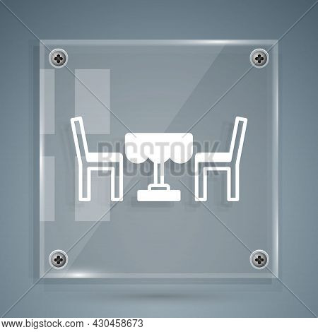 White French Cafe Icon Isolated On Grey Background. Street Cafe. Table And Chairs. Square Glass Pane