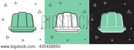 Set Jelly Cake Icon Isolated On White And Green, Black Background. Jelly Pudding. Vector