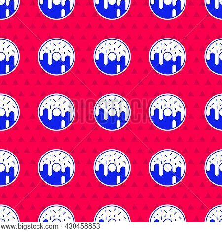 Blue Donut With Sweet Glaze Icon Isolated Seamless Pattern On Red Background. Vector