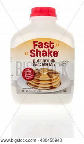 Winneconne, Wi -20 August 2021:  A Package Of Fast Shake Buttermilk Pancake Mix On An Isolated Backg