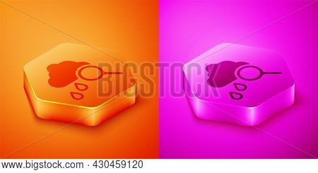 Isometric Cloud With Rain Icon Isolated On Orange And Pink Background. Rain Cloud Precipitation With