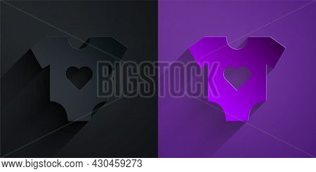 Paper Cut Baby Clothes Icon Isolated On Black On Purple Background. Baby Clothing For Baby Girl And