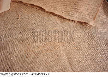 Burlap Sack Texture For Text Background, Design Material Or Decoration. Burlap Sacks Are Commonly Us