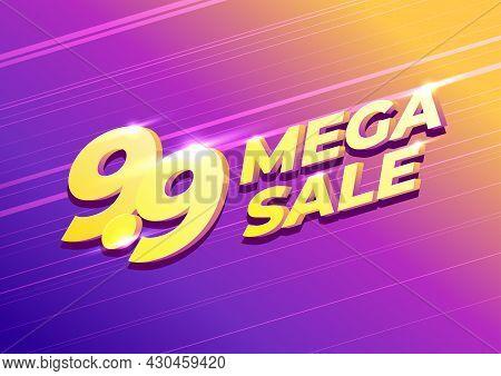 9.9 Shopping Day Sale Poster Or Flyer Design. 9.9 Mega Sale Online Banner.