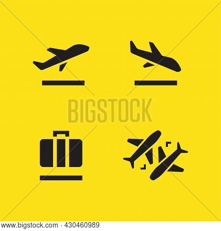Airport Icons Set, Departures, Arrivals, Baggage, Transfer. Vector