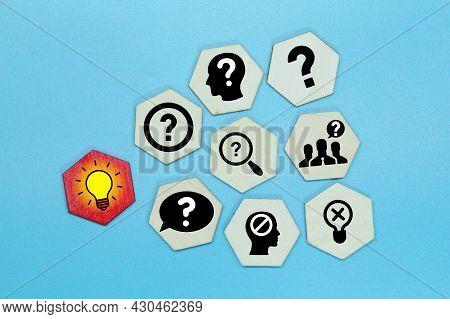 Hexagon With A Query Icon Or Problematic With An Idea Icon. Concept Idea
