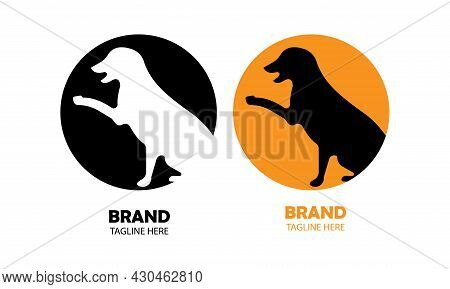 Vector Illustration Of Two Half-bodied Dogs In Two Different Circles, Color Black And White, Color B