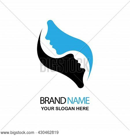 Simple Illustration Of Two Human Faces In Black And Blue, Great For Human Logos And Icons
