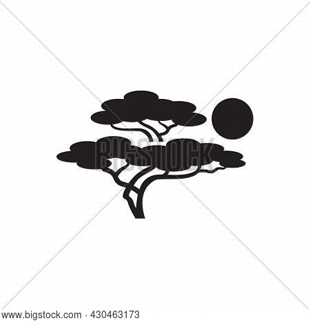 African Tropical Acacia Tree Logo Icon Black And White Color, Tree Silhouette, Green Nature Safari E