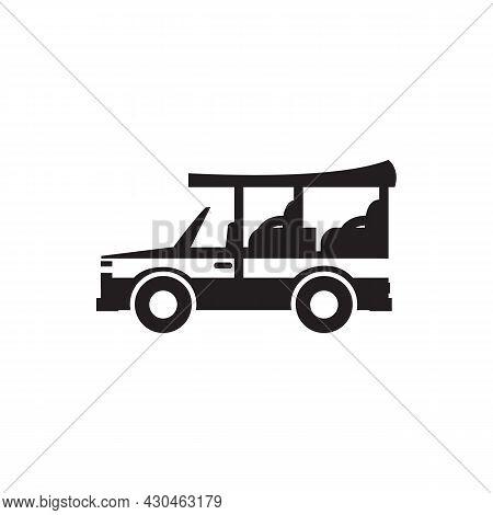 Safari Car Icon. Outline Safari Car Vector Icon For Web Design Isolated On White Background