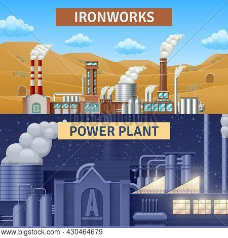 Factory Building Horizontal Realistic Banners Set With Ironworks And Power Plant Isolated Vector Ill