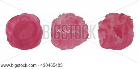Collection Of Watercolor Brush Circles Isolated.set Of Red Blots, Watercolor Texture.