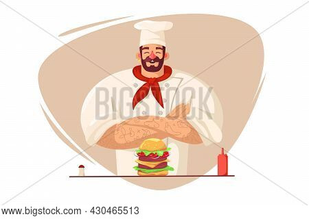 Happy Chef Cooked Big Burger Vector Illustration. Proud Chef In Restaurant Or Cafe Flat Style. Cooki