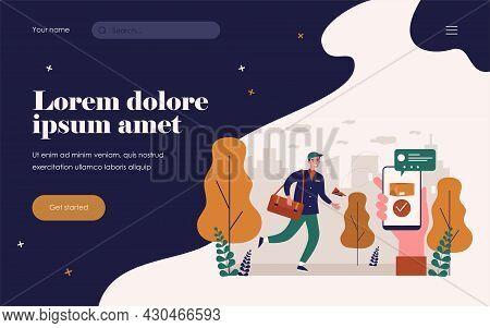 Courier Delivering Online Order In City. Smartphone, Parcel, Box Flat Vector Illustration. Delivery