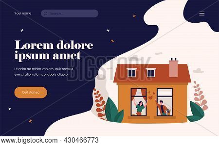 Happy Couple Standing Near Windows And Talking. Love, House, Apartment Flat Vector Illustration. Rel