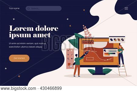Tiny People Drawing With Pen In Graphic Editor Isolated Flat Vector Illustration. Cartoon Creative G