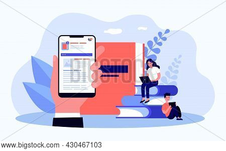 Hand Holding Smartphone With App For Online Ordering. Flat Vector Illustration. Ordering Photo Album