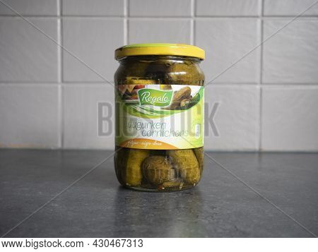 Sint Gillis Waas, Belgium, 20 August 2021, A Glass Jar With Large Pickles Under The Brand Name Regal