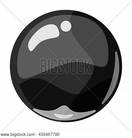 Ball Dark Shiny Glossy Colorful Game Art. Magic Crystal Glass Sphere, Bubble Shot Elements. Cartoon