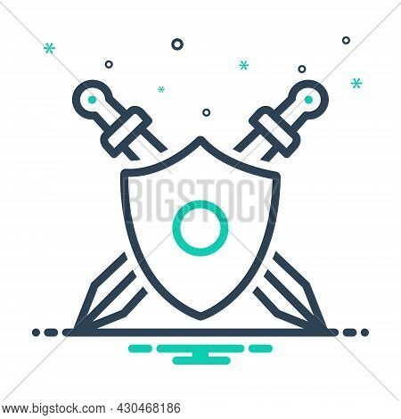 Mix Icon For Defensive Wary Weapon Shield War Opposing Safeguarding Protection