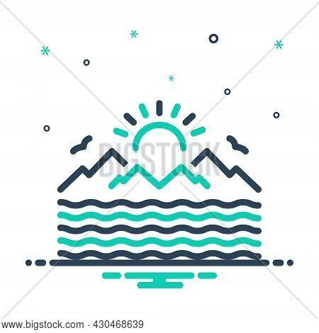 Mix Icon For Sea Marine Ocean Oceanic Saltwater Seawater Nautical Pelagic Deep Sun Mountain Water-wa