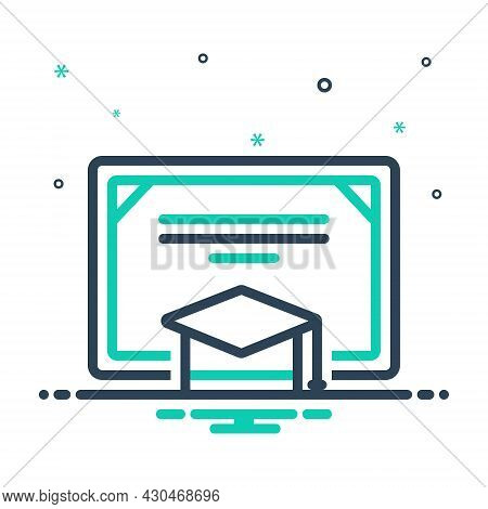 Mix Icon For Degree Certificate Bachelor Graduation-cap Cap Achievement Academic Diploma Education L