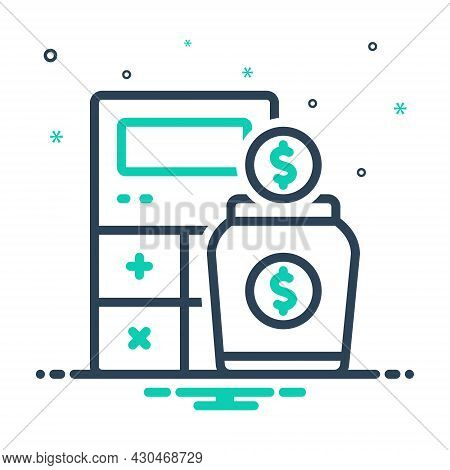 Mix Icon For Income Earning Wages Revenue Finances Yield Calculator Money Received Stipend