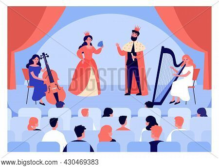 Theatrical Performance, View From Auditorium. Flat Vector Illustration. Spectators Sitting In Armcha