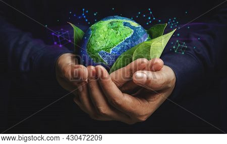 Esg Concept. Nature Meet Technology. Green Energy, Renewable And Sustainable Resources. Environmenta