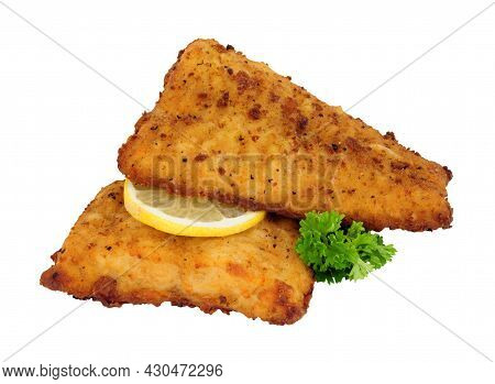 Fried Battered Haddock Fish Fillets Isolated On A White Background