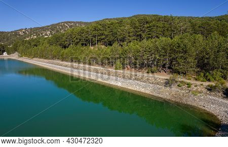 Aerial Drone View Of Dam Full Of Water In The Forest. Prodromos Troodos Mountains Cyprus