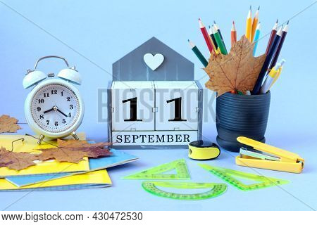Calendar For September 11 : The Name Of The Month Of September In English, Cubes With The Number 11,