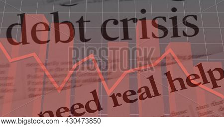 Image of newspaper headline with Debt crisis text over financial data processing statistic recording in the background. Global finance business economy crisis concept digitally generated image.