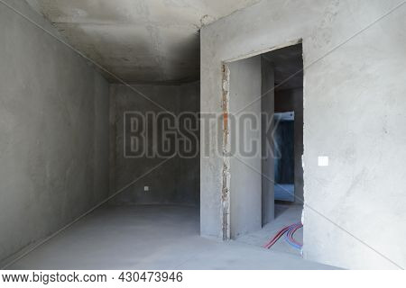 The Interior Of Several Rooms Without Finishing In A New Building