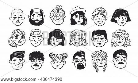 Black And White Hand Drawn Doodle Human Faces Set. Collection Of Sketches Of People Of Different Age