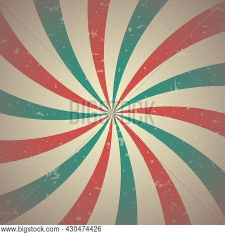 Sunlight Retro Spiral Grunge Background. Blue And Red Color Burst Background. Vector Illustration. S