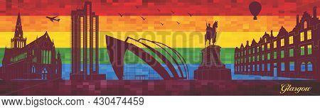 Glasgow On Lgbt Flag Background - Illustration,  Town In Rainbow Background,  Vector City Skyline Si