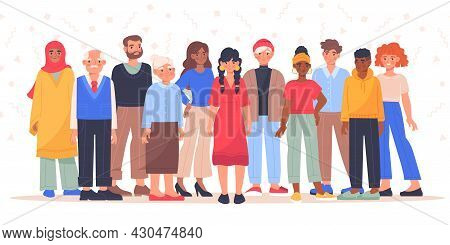 Group Of Diverse, Multiracial And Multicultural Group Of People. Group Of Happy Characters, Young, A