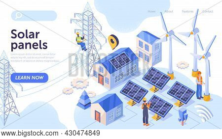 Solar Power Plant Maintenance Concept. Utility Workers Repairing Electric Installations, Boxes On To