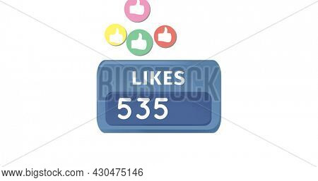 Digital image of colorful like icons moving upwards and likes counter with increasing numbers 4k