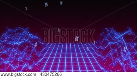 Image of numbers changing over glowing grid of image game. digital interface global connection and entertainment concept digitally generated image.