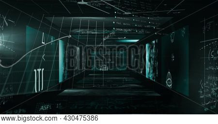 Image of statistics processing and scientific data on screens. digital interface and global science connection concept digitally generated image.